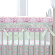 Carousel Designs Crib Rail Cover Crib Rail Guard In Orchid And Mint Tribal By Carousel