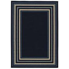 border navy and blue 8 ft x 11 ft indoor outdoor area rug