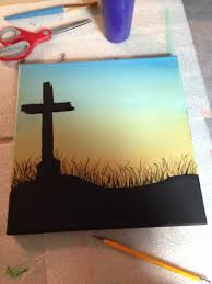 Painting Canvas Cross Silhouette Canvas Painting Stc Create Picture Of The