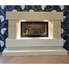 majestic he travertine slimline balance glass front fire suite