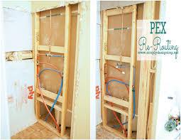 how to re route pex plumbing diy plumbing bathroom remodel