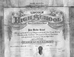 florida memory lincoln high school diploma for pete birdie grant lincoln high school diploma for pete birdie grant