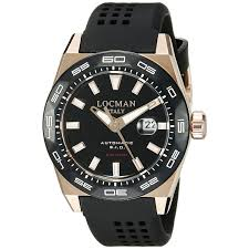 locman men 039 s 46mm rubber band steel case automatic watch locman men s 46mm black rubber band steel case s sapphire automatic analog watch 0215v5