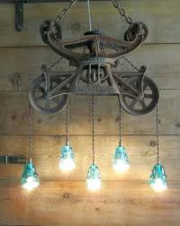 antique hay trolley telegraph glass insulator light fixture chandelier lights glass insulator lights