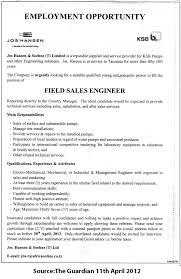 Engineer Job Description FIELD SALES ENGINEER TAYOA Employment Portal 10