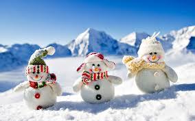 Zima, Śnieg, Trzy, Bałwanki, Czapki, Szaliki, Góry