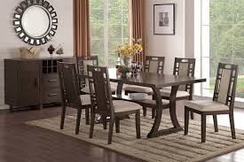 poundex f2379 1380 7 pc bridget ii collection earthly grey tone finish wood dining table set with padded seats