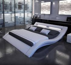 modern platform bed with lights. The Zeus Bed Is Constructed From Black Or White Leatherette With A Unique Contemporary Curved Design. Headboard Comes LED Lighting To Create Modern Platform Lights