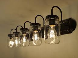 bathroom lighting fixture. mason jar vanity 5light new quart clear bathroom lighting fixture n