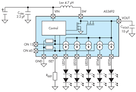 5 different ways to use led drivers electronic design as3492 typical operating circuit the on13 and on45 can be used as pwm inputs to accurately control the led brightness figure courtesy of ams