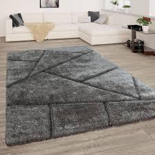 Teppich Grau Anthrazit Wohnzimmer Hochflor Shaggy Weich Flauschig 3 D Muster