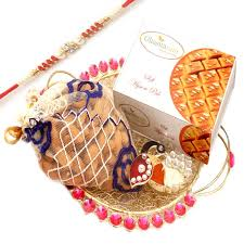 rakhi gifts for usa golden mesh tray with mysore pak almonds pouch and