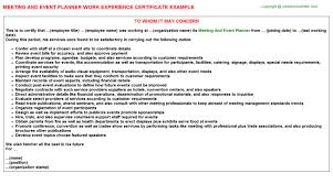 Duties Of An Event Planner Meeting And Event Planner Job Experience Letter