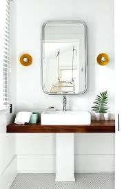 Restoration Hardware Pedestal Sink Cottage Style Kids Bathroom Boasts A  Flat Mirror Illuminated By I2