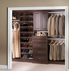espresso wooden closet organizer system with 5 drawers and shoe stand for