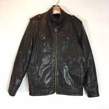 details about black rivet mens faux leather moto biker jacker brown black euc sz m