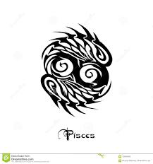 стиль татуировки знака зодиака Pisces иллюстрация вектора
