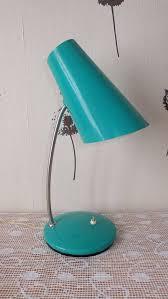 soviet vintage metal desk lamp cone shade bright green lamp