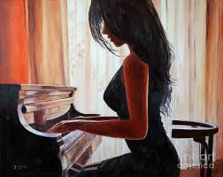 portrait painting lovely girl playing piano by jian shi
