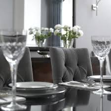 grey tufted dining room chairs. love gray tufted dining chairs with the glossy lacquered black table. grey room