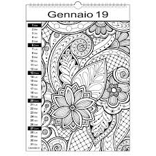Calendario 2019 Da Colorare Mandala Calendariit Calendari