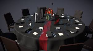 round table setting 3d model obj fbx mtl 3