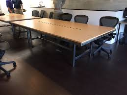 pasadena ca conference table with steel and maple formica top and 6 power