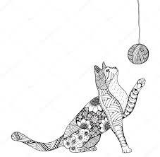 Piccolo Gattino E Bugna Del Thread Gatto Che Gioca Zentangle Gatto