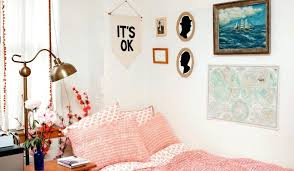 crisp white wall color ideas with peach bedding design for comfortable dorm room plan schemes best combinations f