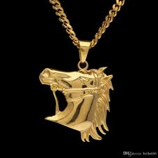 whole mens stainless steel horse head pendant necklace high quality gold plated hiphop animal zombie horse charm pendants jewelry 5mm cuban chian photo