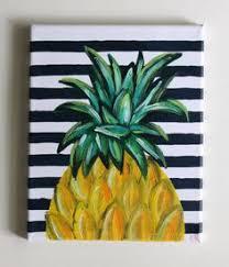 tropical beach hawaiian pineapple acrylic painting art canvas