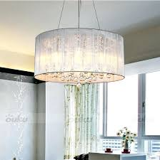 fabric drum shade chandelier modern drum pendant lamp light chandelier crystal fabric ceiling cylinder fabric