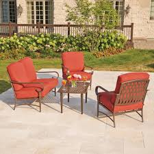 hampton bay oak cliff 4 piece metal outdoor deep seating set with chili cushions