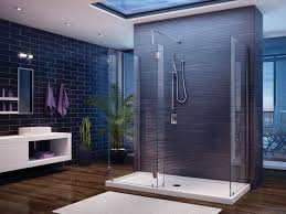 Interesting Grey Wall and Glass Panel for Modern Walk In Shower Designs  near White Floating Vanity