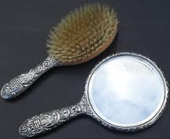 antique hand mirror and brush set. sterling silver green man hand mirror \u0026 hair brush - birmingham 1959 (#49445), vintage-kitsch antiques collectables antique hand mirror and brush set