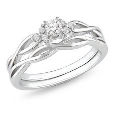 infinity engagement ring set. affordable diamond infinity wedding ring set in 10k white gold engagement s
