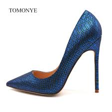 Blue Designer Heels Us 41 25 25 Off 2019 New Designer Royal Blue Snake Python Pointed Toe Evening Sexy High Heel Shoes 12cm Plus Size 44 45 Small Size 33 34 Pump In