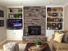 Great Stone Around Fireplace On Interior With And Recently Restyling The  Shelves Its Made A World ...