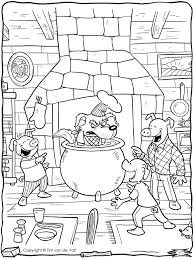 Big Bad Wolf In Cauldron Coloring Page Hard Three Little Pigs Color
