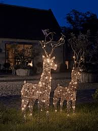 exterior christmas decorations lights. faux rattan light up reindeer exterior christmas decorations lights