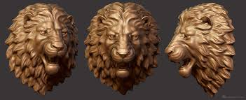 3d angry lion head digital sculpture for cnc and 3d printing