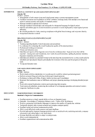 Localization Specialist Resume Samples Velvet Jobs