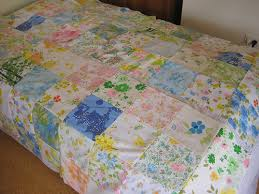 vintage sheet quilt   pinsandthimbles & Then sew fours together into eights, and so on… Adamdwight.com
