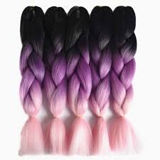 Light Pink Extensions Sallyhair 24inch Ombre 3 Tone Black Purple Light Pink Color Synthetic Braiding Hair Extension Bulk Hair Braids