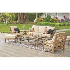 Rustic wood patio furniture Garden Martha Stewart Living Blue Hill Wood Outdoor Deep Seating With Rustic Weathered Grey Cushions 6 The Home Depot Martha Stewart Living Blue Hill Wood Outdoor Deep Seating With