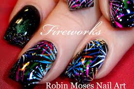 EASY Firework Nail Art Design   DIY 4th of July Nails Tutorial ...