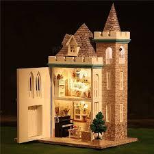 diy wooden led light assembled doll house moonlight castle miniature kit gift