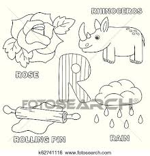 They will help to remember the alphabet, numbers, and account on the associative level. Alphabet Letter With Alphabet Letters R Coloring Book For Kids Clip Art K62741116 Fotosearch