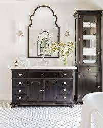 restoration hardware bath vanity. antiqued black bath vanity with gray mosaic tiles restoration hardware