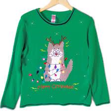 Christmas T Shirts Led Lights Electrocuted Kitty Led Light Up Cat Lady Ugly Christmas